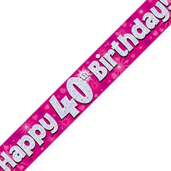 9ft 40th Birthday Pink Banner