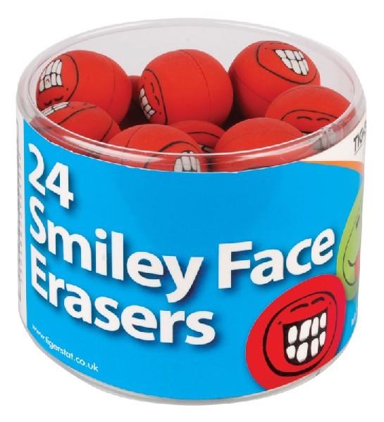 ASST SMILEY FACE ERASER 24S