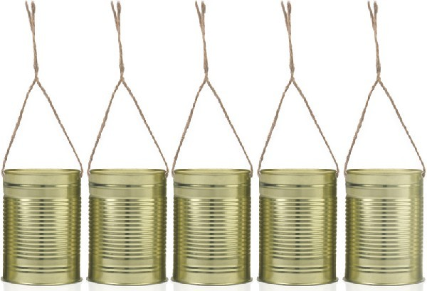 (5) GOLD DECORATIVE WEDDING CANS