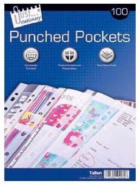 (100) CLEAR PLASTIC PUNCHED POCKETS 5S