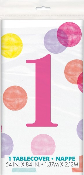 54x84in PINK DOTS 1ST BIRTHDAY TABLE COVER