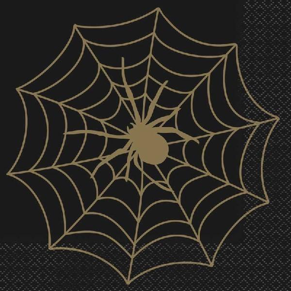 BLACK/GOLD SPIDER WEB L/NAPKINS