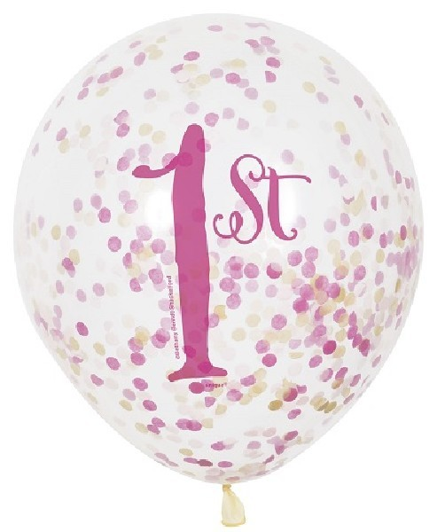 (6) 12IN CLEAR PINK/GOLD 1ST B/DAY BALLOONS